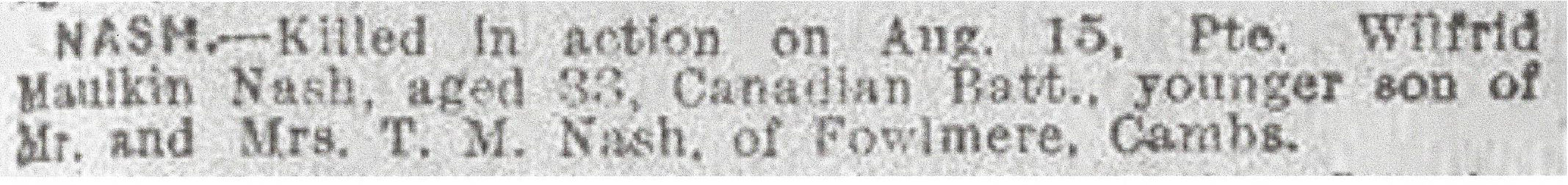 Newspaper Clipping– Newspaper clipping from the Daily Telegraph of August 30, 1917. Image taken from web address of http://www.telegraph.co.uk/news/ww1-archive/12214800/Daily-Telegraph-August-30-1917.html