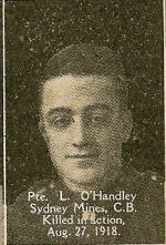 Photo of Lawrence O'Handley– From the book, Catholics of the Diocese of Antigonish, Nova Scotia and the Great War 1914- 1919.  Submitted for the project, Operation: PIcture Me