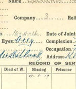 Record of Service– Record of Service Card (front side).  Courtesy 48th Highlanders of Canada Regimental Museum.  submitted by 15th Bn Memorial Project Team.  DFILEAS GU BRATH