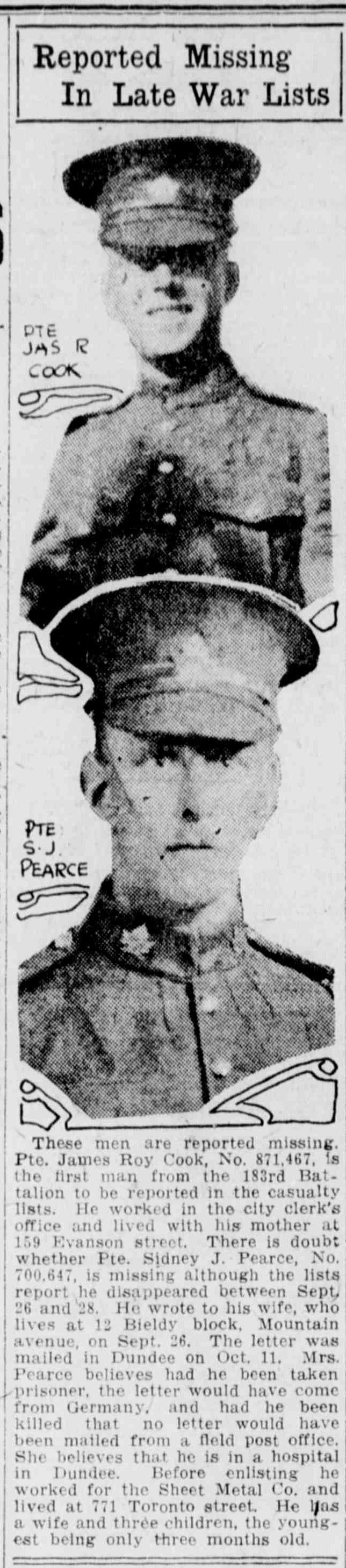 Newspaper Clipping– Image Source: The Winnipeg Evening Tribune, 1916-11-08 (Page 5)