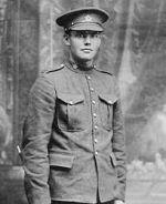 Photo of George Pennell– George posing for a photo in North Bay, Ontario before joining the 58th Battalion in France.