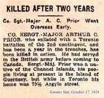 Newspaper Clipping– October 17th, 1916.