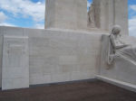 Vimy Memorial– Panel on Canadian Vimy Memorial where AH Prior's name appears.  Taken June 3, 2007, just after the completion of the memorial restoration.