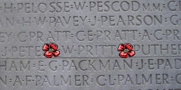 Memorial– Inscription - Vimy Memorial … photo courtesy of Marg Liessens