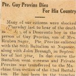 Press Clipping– Obituary and newspaper clipping,  referenceing Private Guy Provins, of Deseronto, Ontario service, during WWI.