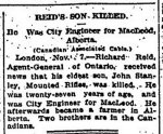 Newspaper Clipping– From the Toronto Globe for 8 November 1916.