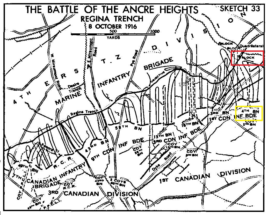 Document– Lieutenant Reynolds was killed in action (along with Lieutenant Francis Beers also of the 4th Bn.) during the Battle of Ancre Heights in the attack on Regina Trench on October 8, 1916. At that time, the 4th Battalion was attempting to place a block in the trench to prevent the enemy from moving back down the area of the trench that the Canadians had captured. There are only 2 Lieutenants of the 4th Battalion on the Vimy Memorial that were killed that day and have no known grave. We now know that one of those 2 Lieutenants is buried in Adanac Military Cemetery in Plot 5 Row C Grave 28.