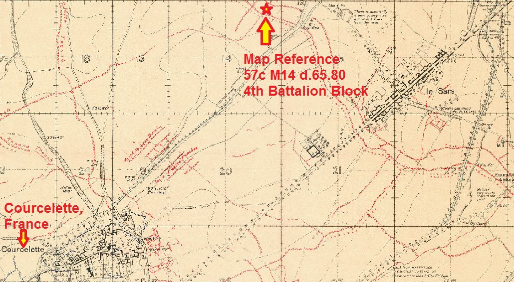 Document– The precise area where the 4th Canadian Infantry Battalion was located on October 8, 1916 is shown on a Trench Map Extract of the area from 1916. The block was being place at an area marked on Map 57c in Sector M Sub-sector b and at the grid coordinates 6.5 and 8.0. Each Sector (i.e. M) is 1,000 yards by 1,000 yards and each sub-sector (i.e. a, b, c d) are 500 yards by 500 yards. Each grid mark (10 marks per sub-sector) is 50 yards. The body would have been exhumed in the vicinity of 57c M14 b.45.25 along with the remains of Major A. J. Snaddon, also 4th Battalion KIA 8 October 1916.