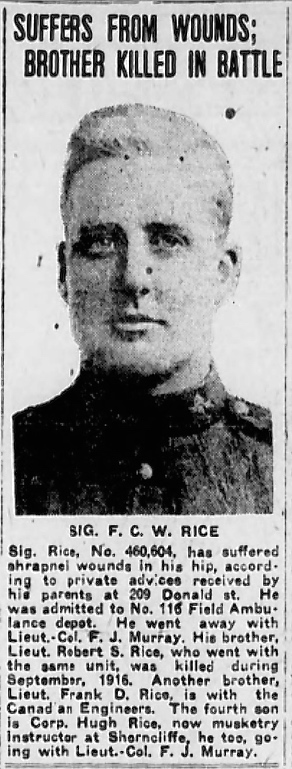 Newspaper Clipping– Robert Rice mentioned.  In memory of the men and women memorialized on the pages of the Winnipeg Evening Tribune during World War One. Submitted for the project, Operation: Picture Me