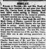 Newspaper clipping– Report of EC Rood's death in the local paper (Langport Herald 2 June 1917)