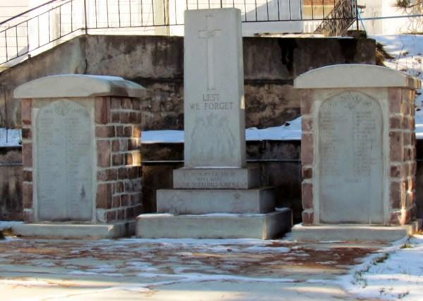War Memorial– Cenotaph, Major Edward J Holland VC Memorial Park, Cobalt Ontario, Nov 11 2013.   Photo by Ken Riley