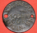 Identity disc– Russell's identity disc made on a french coin.