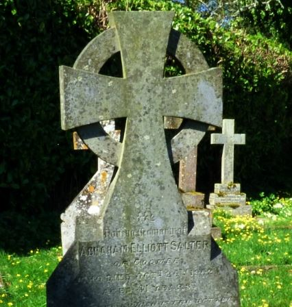 Grave Marker– Grave of Abraham Elliot Salter at Tipton st John. Devon and Memorial to Lance Corporal John Elliott Salter