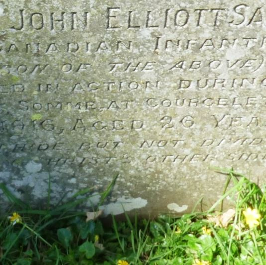 Photo of JOHN ELLIOTT SALTER– Grave of Abraham Elliot Salter at Tipton st John. Devon and Memorial to Lance Corporal John Elliott Salter