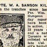 Coupure de presse – L'article mentionne que le Lieutenant-colonel Samuel Gustavus Beckett du 75e Bataillon est mort le 1er mars 1917.