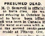 Newspaper Clipping– Pte. Maurice Owen Samwell enlisted in Toronto in December 1914.