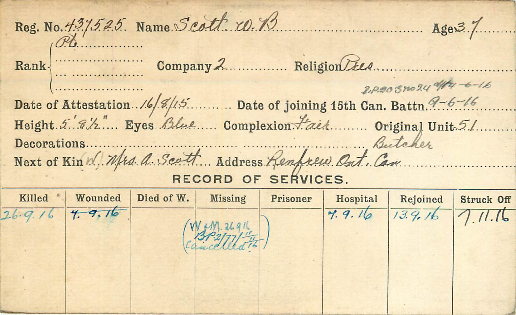 Service Record– Record of Service Card (Front side).  From archives 48th Highlanders of Canada Regimental Museum.  Submitted by 15th Bn Memorial Project Team.  DILEAS GU BRATH