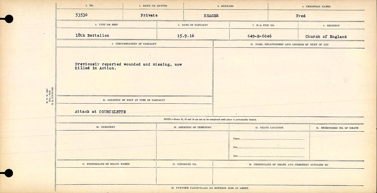 Registres de circonstances du décès – Circumstances of Death Register