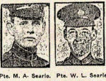 Newspaper Clipping– Pte. William L. Searle enlisted in the 38 Battalion C.E.F. at Lindsay, Ontario, on May 28, 1915.  His brother Maurice Arthur Searle, 769422, enlisted in the 124th Battalion C.E.F. in Toronto, Ontario, on December 28th, 1915.  In honoured memory.
