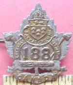 Badge– Cap Badge 188th Bn (Saskatchewan).  Private Sharman was a member of the 188th Bn before being sent to the 15th Bn as a reinforcement.  Submitted by Captain (retired) Victor Goldman, 15th Bn Memorial Project.  DILEAS GU BRATH
