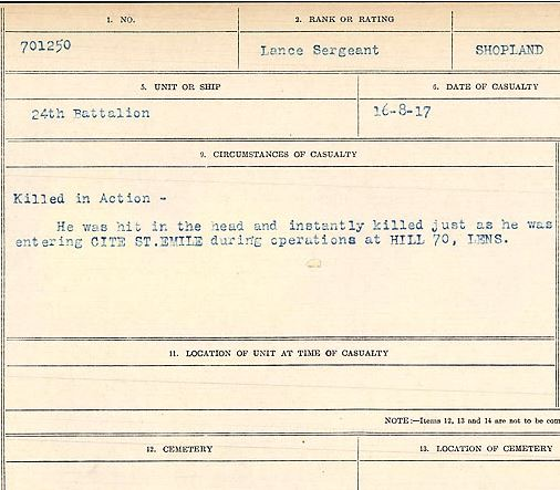 Circumstances of death registers– Lance Sergeant Albert Shopland