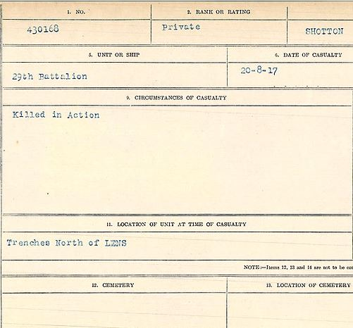 Circumstances of death registers– Corporal Robert Edmund Shotton