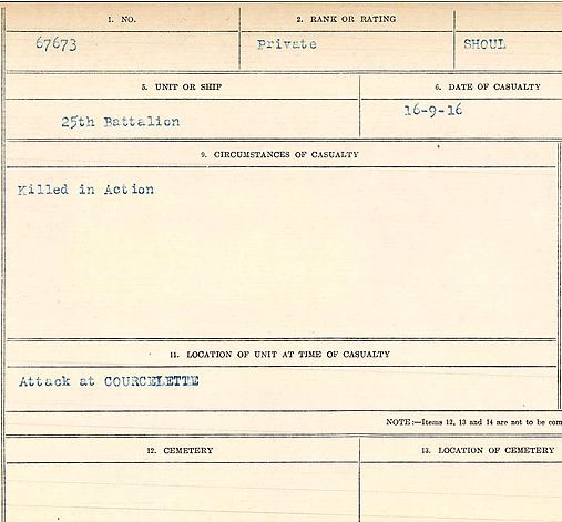 Circumstances of death registers– Private Camille Shoul