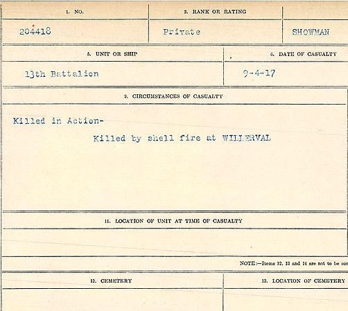 Circumstances of death registers– Private Frank Flory Showman