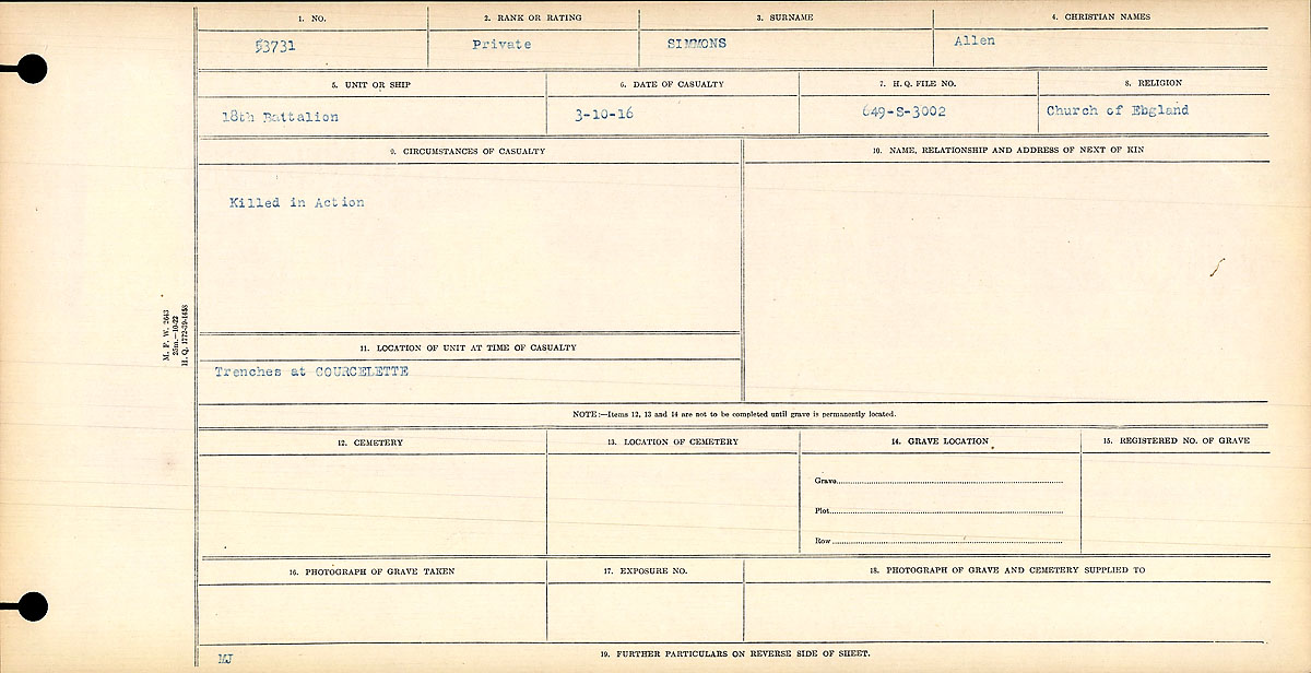 """Circumstances of Death Registers– """"Killed in Action"""" Contributed by E. Edwards, 18thbattalioncef.wordpress.com"""