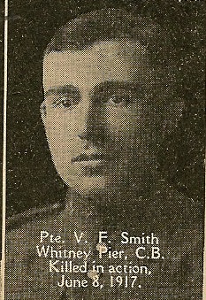 Photo of VINCENT FRANCIS SMITH– From the book, Catholics of the Diocese of Antigonish, Nova Scotia and the Great War 1914- 1919.  Submitted for the project, Operation: PIcture Me