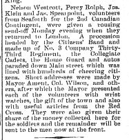 Newspaper Clipping– The Brussels Post, December 3 1914 Page 1.