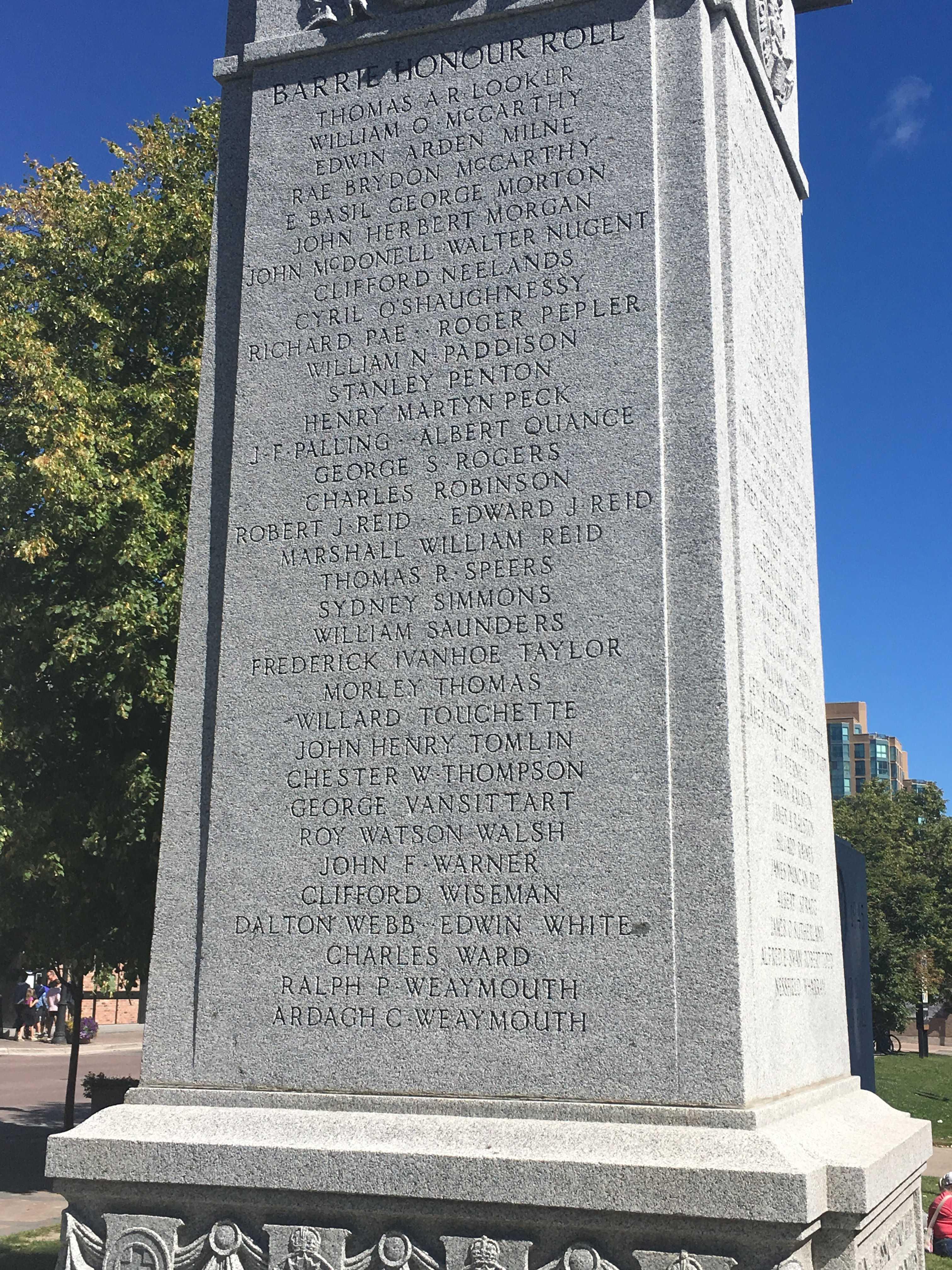 Mémorial – Barrie, Ontario