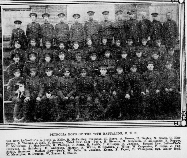 Newspaper clipping– 2nd row 3rd from right. In memory of the men and women of London, Ontario (and area) who went to war and did not come home. Remembered on the pages of the World War One issues of the London Advertiser. Submitted for the project Operation Picture Me