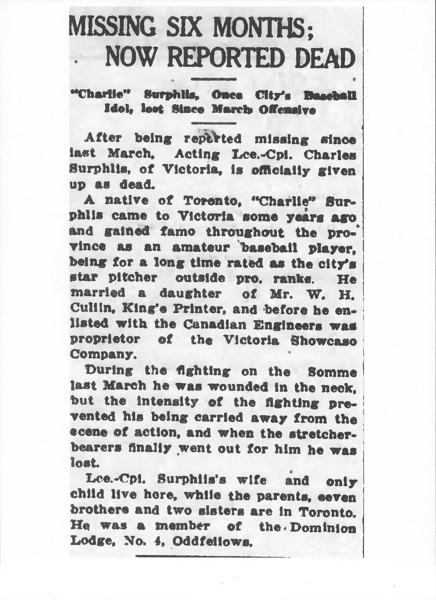 Newspaper Clipping– Newspaper clipping from the Daily Colonist of October 24, 1917. Image taken from web address of http://archive.org/stream/dailycolonist59y273uvic#page/n0/mode/1up