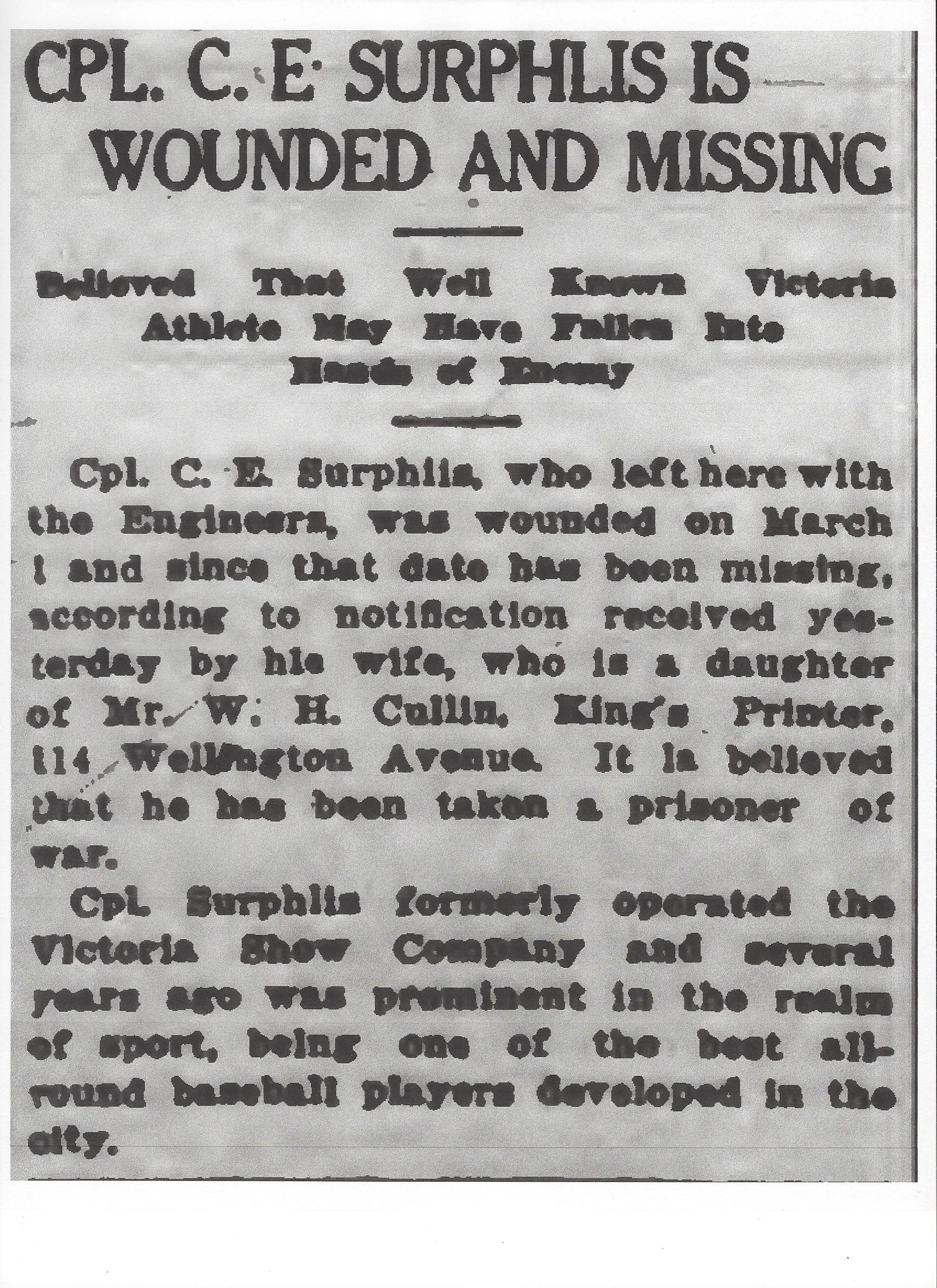 Newspaper clipping– From the Daily Colonist of March 17, 1917. Image taken from web address of http://archive.org/stream/dailycolonist59y83uvic#page/n0/mode/1up