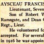 """Newspaper clipping– """"University of Toronto / Roll of Service 1914-1918"""", 1921."""