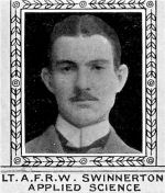 Photo of Aysceau Swinnerton– From: The Varsity Magazine Supplement Fourth Edition 1918 published by The Students Administrative Council, University of Toronto.   Submitted for the Soldiers' Tower Committee, University of Toronto, by Operation Picture Me.