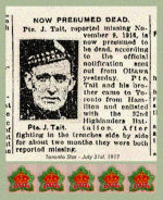 Newspaper Clipping– Brothers Robert and John Tait were reported as killed on the same date.  Pte. John Tait, 193210, was also serving with the 13th Battalion, Quebec Regiment, at the time of his death.