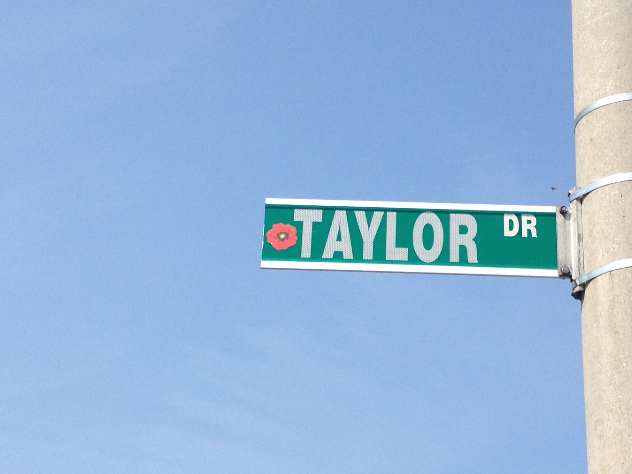 Street sign– Barrie street named in honour of Lance Corporal Frederick Ivanhoe Taylor with a poppy.