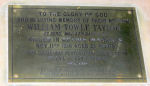Memorial Plaque– This brass memorial plaque is inside St Luke's Church, Derby, England. The Helen Louisa & Edward Ernest Taylor mentioned on the dedication were sister & brother to William Taylor's father, George William Taylor.  He was born in Derby & moved to Vancouver in 1882.