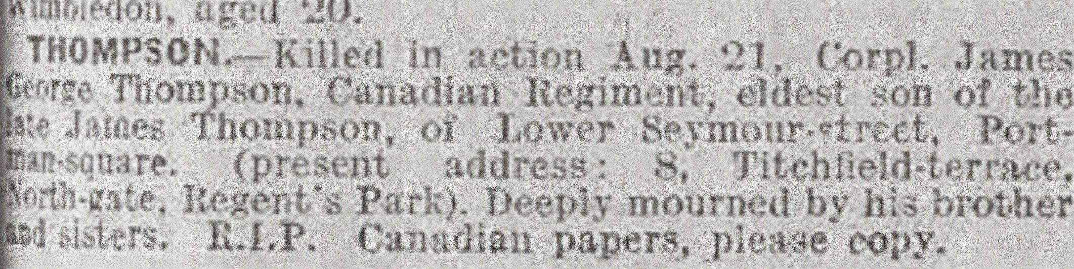Newspaper Clipping– Newspaper clipping from the Daily Telegraph of September 6, 1917. Image taken from web address of http://www.telegraph.co.uk/news/ww1-archive/12214818/Daily-Telegraph-September-6-1917.html