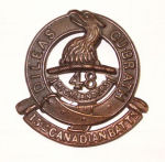 Badge– Cap Badge 15th Bn (48th Highlanders of Canada).  Submitted by Capt (ret'd) V. Goldman 15th Bn Memorial Project.  DILEAS GU BRATH