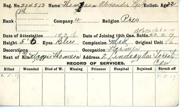Service Record– Record of Service Card (front side).  From archives 48th Highlanders of Canada.  Submitted by 15th bn Memorial Project Team.  DILEAS GU BRATH