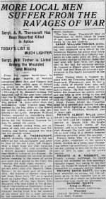 Newspaper clipping– THE CALGARY DAILY HERALD NOVEMBER 22 1916