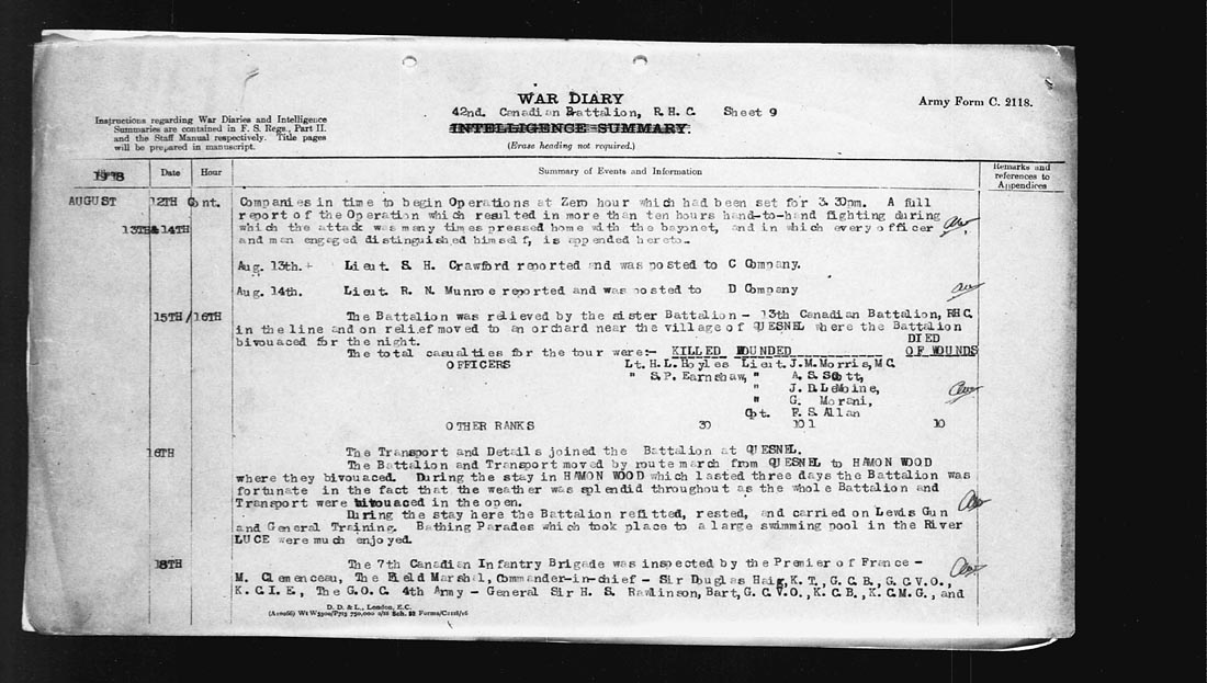 Document– Second part of the War Diaries about the operation on August 12 that led to his death