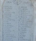 Cenotaph Inscription– World War I fallen remembered on the Cobalt Cenotaph. Photo by Ken Riley