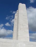 Vimy Memorial– View of the Vimy Memorial with Howard Totten's inscription in the foreground. Photo by Ken Riley.