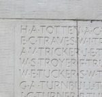 Vimy Inscription– Howard Totten's inscription on the Vimy Memorial. Photo by Ken Riley.