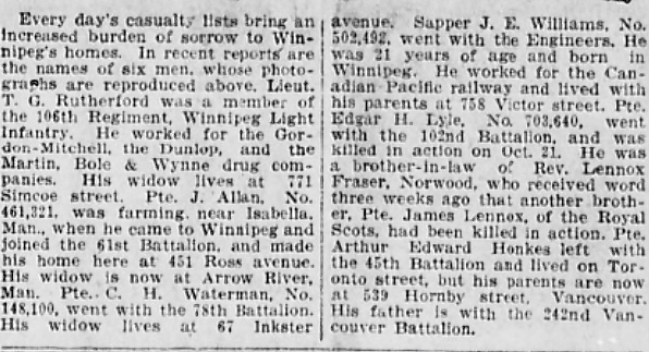 Newspaper clipping– In memory of the men and women memorialized on the pages of the Winnipeg Evening Tribune during World War One. Submitted for the project, Operation: Picture Me.