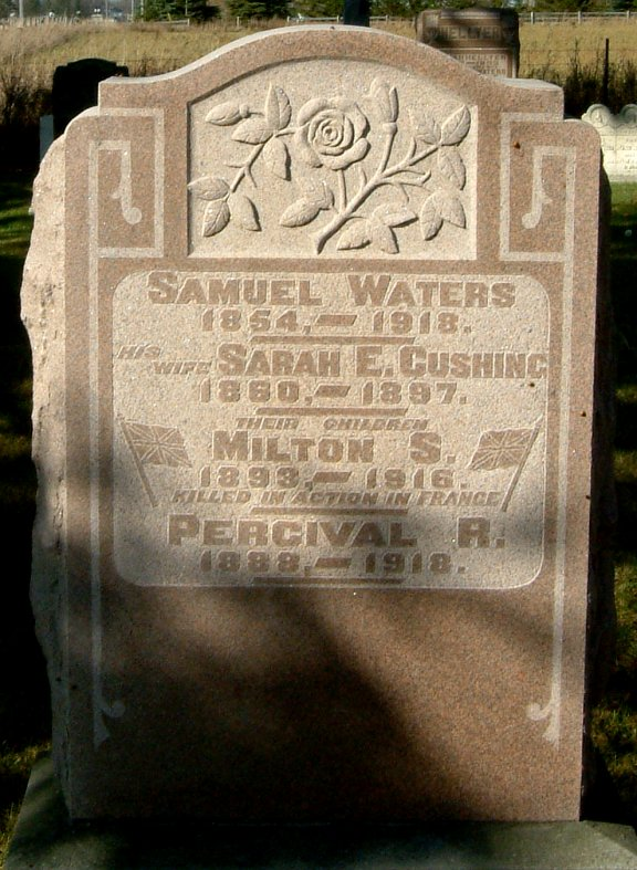 Family gravemarker– Commemorative tombstone in the Kenilworth Methodist Cemetary, Arthur Township, Wellington County.